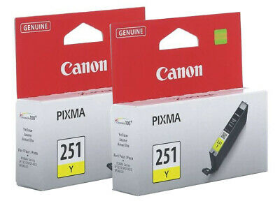 New Genuine Canon CLI-251 Yellow 2-Pack Ink Cartridges PIXMA MG5520 MG7120 MX922