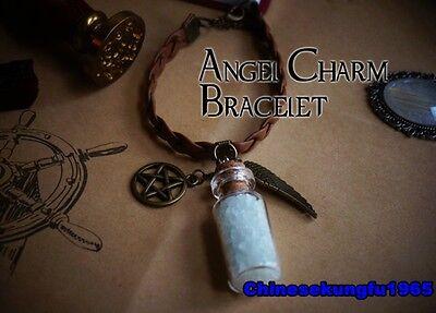 TV Supernatural Inspired Protection Charm Pentagram Salt Bracelet Glowing