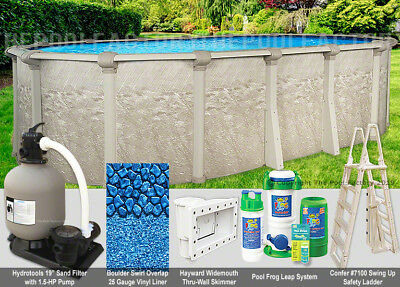 """12x24 Oval 52"""" High Above Ground Swimming Pool Package - Space Saving Design"""