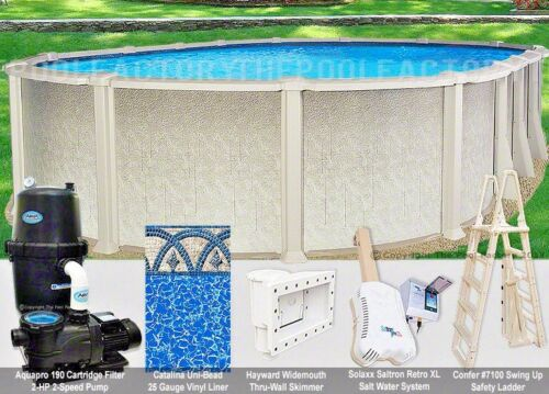 "18x33 Oval 54"" High Saltwater 8000 Above Ground Salt Swimming Pool Package"