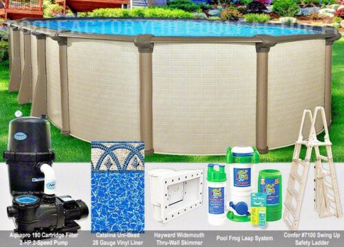 "18x33 Oval 54"" High Melenia Above Ground Swimming Pool Package 50 Year Warranty"
