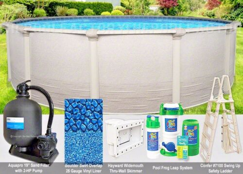 """12 Round 52"""" High Signature Resin Top Ledge Above Ground Swimming Pool Package"""