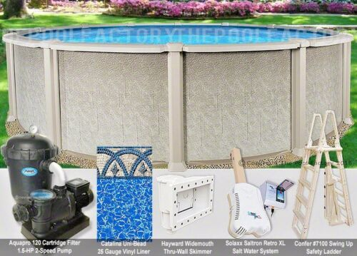 "21 Round 54"" High Saltwater 8000 Above Ground Salt Swimming Pool Package"