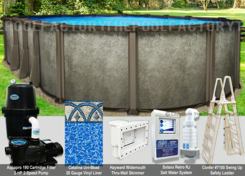 "15x26 Oval 54"" High Saltwater LX Above Ground Salt Swimming Pool Package"