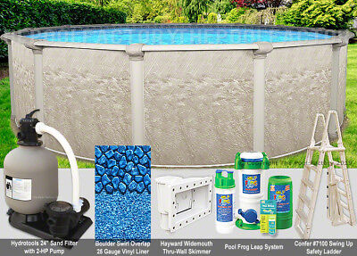 "27 Round 54"" High - Above Ground Swimming Pool Package - 40 Year Warranty"