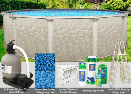 """27 Round 52"""" High - Above Ground Swimming Pool Package - 40 Year Warranty"""