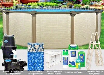 """24x54"""" Melenia Round Above Ground Swimming Pool Package - 50 Year Warranty"""