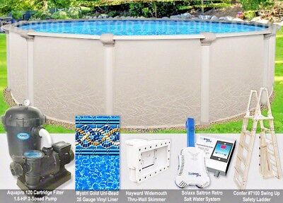 "18 Round 52"" High Saltwater 5000 Above Ground Salt Swimming Pool Package"