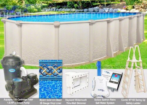 "12x24 Oval 52"" High Saltwater 5000 Above Ground Salt Swimming Pool Package"