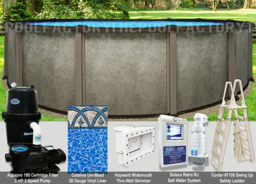 "24 Round 54"" High Saltwater LX Above Ground Salt Swimming Pool Package"