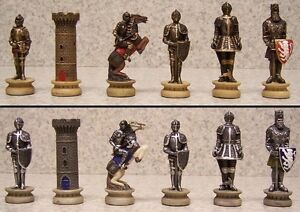Chess set pieces medieval knights in armor nib ebay - Medieval times chess set ...