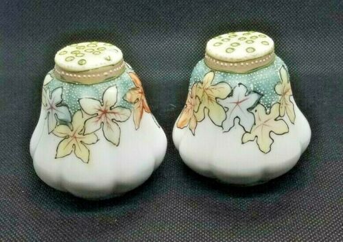 Antique Porcelain Gourd Shaped Hand Painted Beaded Salt & Pepper Fall Leaves