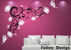 wandtattoo ranke blumen blumenranke wallbild walltattoo schmetterling wpf69 ebay. Black Bedroom Furniture Sets. Home Design Ideas