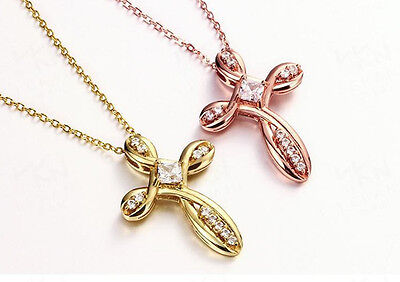 Womens Gold Plated Link Chain Cubic Zirconia Cross Pendant Charm Necklace #N101