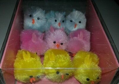 Mixed of Blue, Pink, Yellow Chenille Easter or Spring Chicks 9 Large or 24 Small