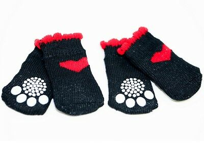 4pcs Black & Red Heart Anti-Slip Dog Socks for Clean & Comfy Paws Puppy Size L
