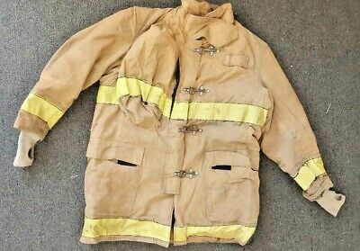 48x35 Globe Firefighter Jacket Bunker Turnout Gear Brown Yellow Reflective J709