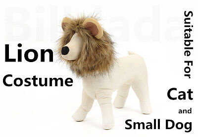Unique Cute Lion Mane Wig Head Warm Hat For Cat Small Dog With Ears Party   - Unique Dog Costumes