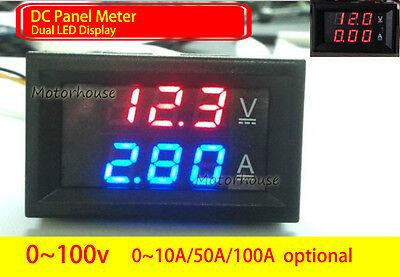 Dc 0-100v Digital Led Voltmeter Ammeter Amp Volt Meter 10a 50a 100a 12v 24v Car