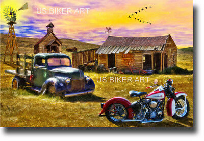 HARLEY DAVIDSON PANHEAD MOTORCYCLE ROUTE 66 FARM VINTAGE BIKER ART PRINT