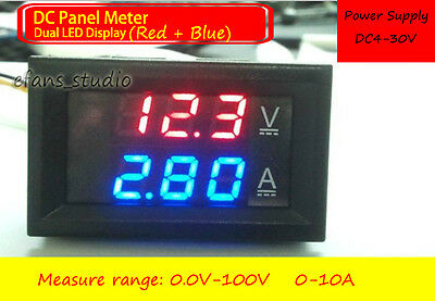 Dc 100v10a Shunt Ammeter Voltmeter Digital Led Amp Volt Tester Meter 12v 24v