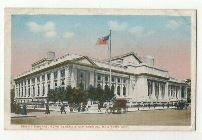 Public Library 42nd Street & 5th Avenue New York City USA Postcard US129