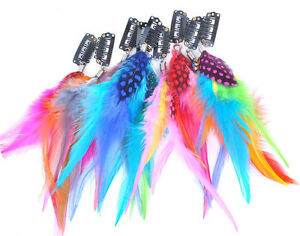 9Pcs-set-Feather-Hair-Extensions-With-9-Mixed-Color-Feather-Grizzly-Clip-on-KP83