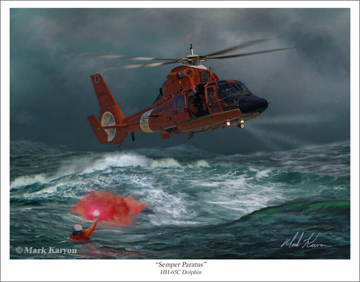 """USCG HH65 """"Dolphin"""" Helicopter Aviation Art Print"""
