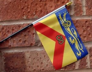 STAFFORDSHIRE-flag-PACK-OF-TEN-SMALL-HAND-WAVING-FLAGS-Stafford-Stoke-UK