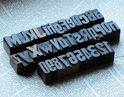 A-z 0-9 Alphabet Number Letterpress Wood Printing Blocks Wooden Type Printers Ab