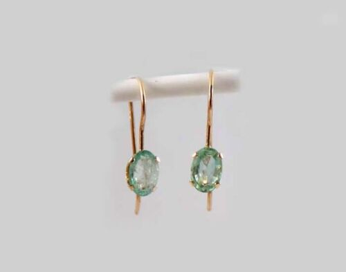 Gold Emerald Earrings 1ct Antique 19thC Ancient Christian Sumer Immortality 10kt