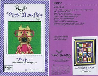 AMY BRADLEY DAZZLING DOGS MAJOR Quilt KIt applique fabric fuse out of print