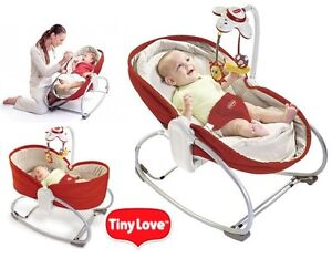 New Tiny Love 3-in-1 Rocker Napper Baby Play Bassinet   - red