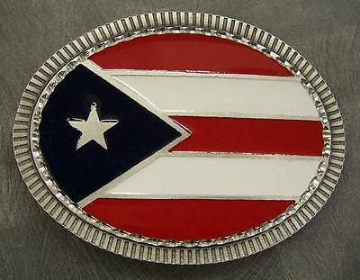 Pewter Belt Buckle National Flag Puerto Rico oval (Flag Pewter Belt Buckle)