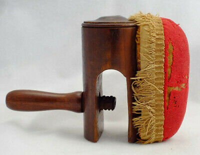 Clamp Pin (Antique Sewing Clamp Pin Cushion Wood Folk Art 19th c. Hand-carved Table Clamp)