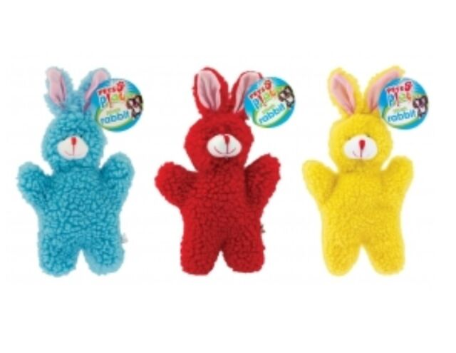 Set Of 3 Colourful Pets Play Soft Fluffy Squeaky Pet Dog Plush Toy Rabbit