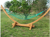 *SALE* Large wooden garden hammock with nylon net and fittings
