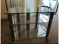 Silver and Glass TV stand, with 2 shelves