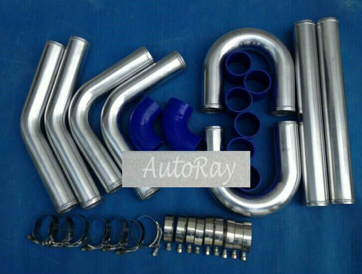 "NEW 2.5/"" 64mm Aluminum Universal Intercooler Turbo Piping pipe Kit BLACK hose"