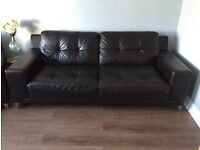 BLACK LEATHER 3 SEAT SOFA AND CHAIR
