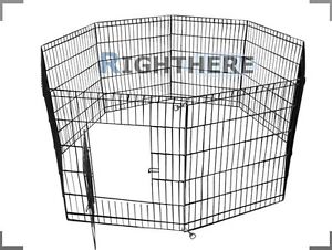 NEW-30-8-PANELS-FOLDABLE-ENCLOSURE-FENCE-DOG-PLAY-PEN-RABBIT-CAGE-PET-KENNEL-M