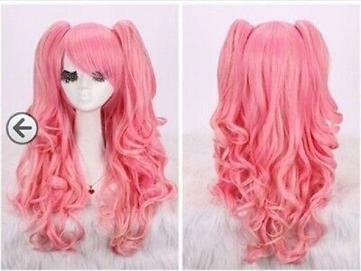 New woman pink long curly cosplay full wig + wigs pigtail  + two pigtails (Pink Pigtail Wig)