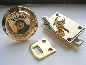 Brass Edwardian Vacant Engaged Toilet Bathroom Lock Bolt Indicator Door Knobs Ebay