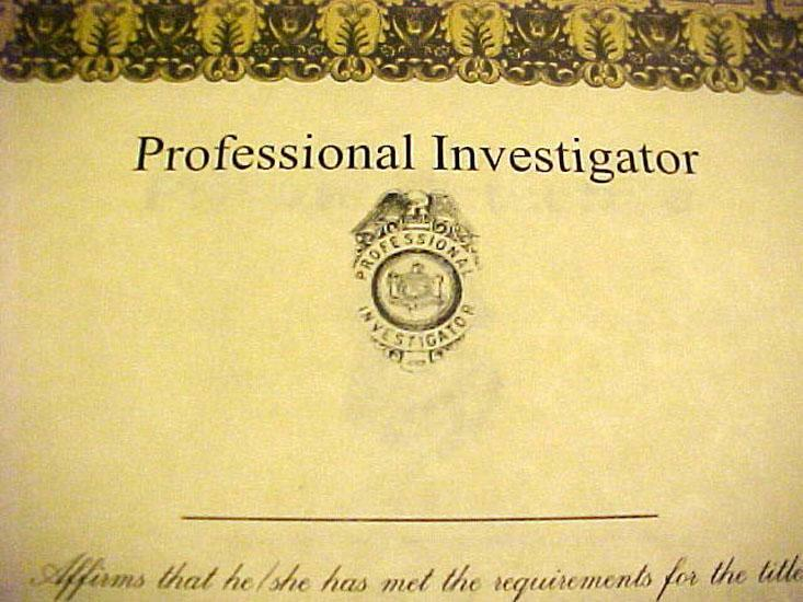 Professional Investigator Badge Wall Certificate Suitable for Framing