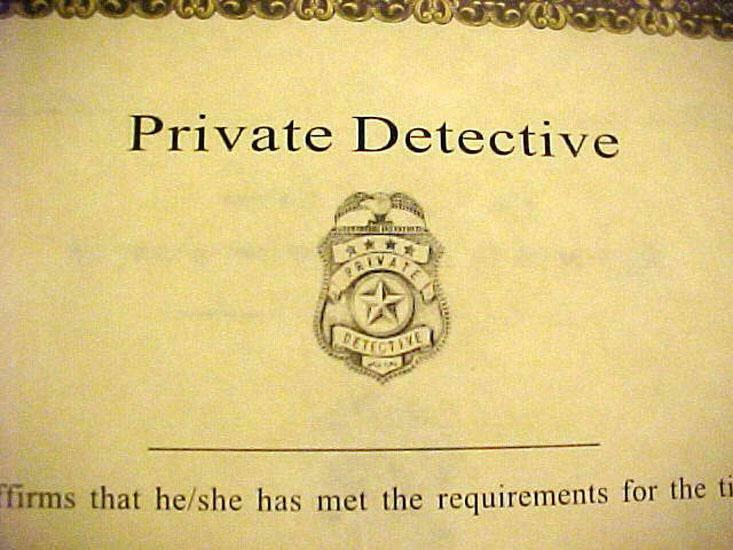 Private Detective, PI, Private Eye Badge Wall Certificate