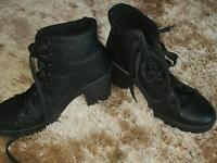 Girls black leather boots size 3