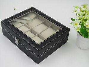 PU Leather 10 Slots Men Wrist Watch Display Box Storage Holder Organizer Case