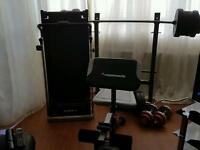 Hardly used weights bench Maximuscle and hardly use manual treadmill
