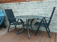 Glass top garden table and 2 chairs