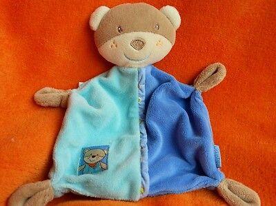 Baby Dream Beige Blue Bear Baby Comforter Baby Soft Toy Doudou Blankie ~ Velour